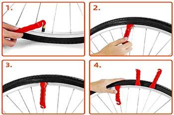 palanca desmontando cubierta de bici