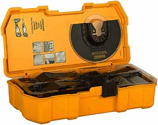 caja con accesorios para una multiherramienta oscilatoria dewalt